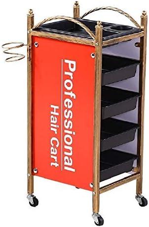 ヘアサロン車 ホイールと5スライドアウトトレイ、ヘアドライヤーホルダー付きメイクアップ美容ストレージ主催トロリーローリングサロントロリー 美容サロンの棚台車 (Color : Orange)