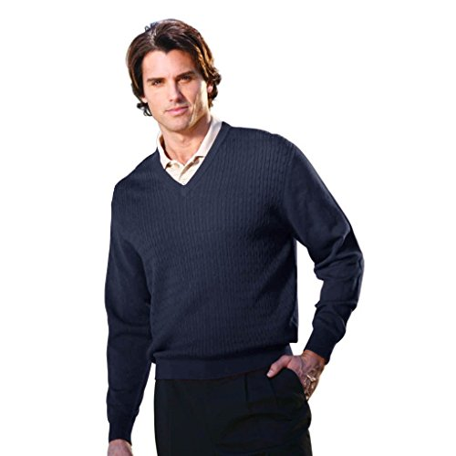 Monterey Club Men's Cable V-Neck Long Sleeve Sweater #1944 (Navy, X-Large)