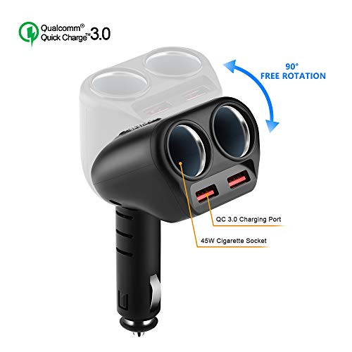 Rocketek Dual USB Quick Charge 3.0 Car Charger Adapter with Build-in 2 Way Car Splitter Adapter, 90W 12V/24V DC Outlet 2-Socket Car Cigarette Lighter for iphone/ipad/android cell phone, GPS, Car - Splitter Block 12v