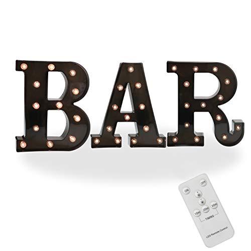 Pooqla Remote BAR Sign Decorative Led Illuminated Letter Lights Marquee BAR Signs - Black Light Up Letters - Lighted Bar Decor (23.03-in x 8.66-in) (Remote - Black BAR) -
