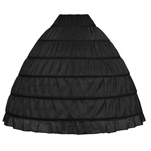 NKL Full A-line 6 Hoop Floor-Length Bridal Dress Gown Slip Petticoat Black