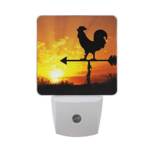 Naanle Set of 2 Rooster Weather Vane On Arrow Sunrise with Bright Sunshine Color Cloud Early Morning Wake Up Concept Auto Sensor LED Dusk to Dawn Night Light Plug in Indoor for Adults (Lamp Weathervane)