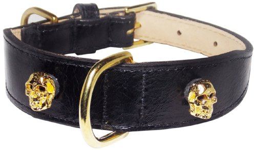 Crystal Skull Rivets Tapered Dog Collar, Extra Large Size 17-22, Black