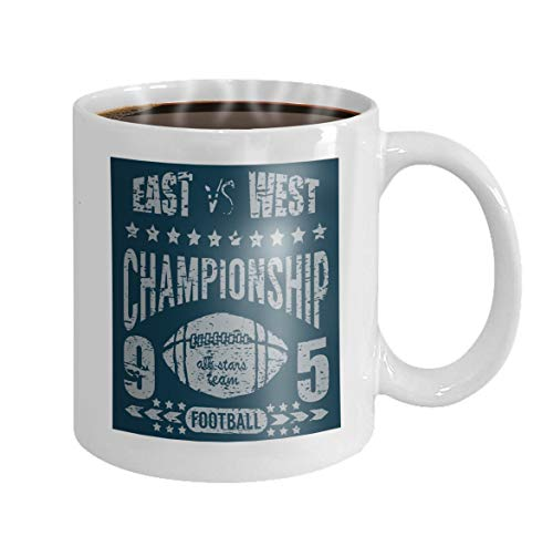 - 11 oz Coffee Mug football sport typography printing design poster badge applique label Novelty Ceramic Gifts Tea Cup