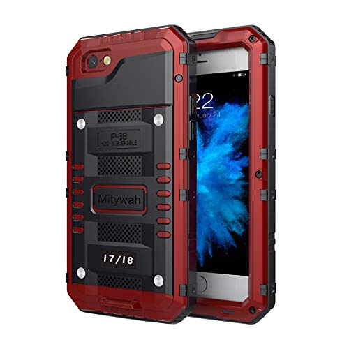 Mitywah iPhone 7 / iPhone 8 Case Heavy Duty Durable Metal Full Body Protective Case Built-in Screen Protection Waterproof Shockproof Dustproof Rugged Military Grade Defender, Red