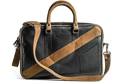 KANZEK Black and Brown Full Grain Leather Laptop Messenger Briefcase Shoulder  Bag cb7f5fb8bfb97