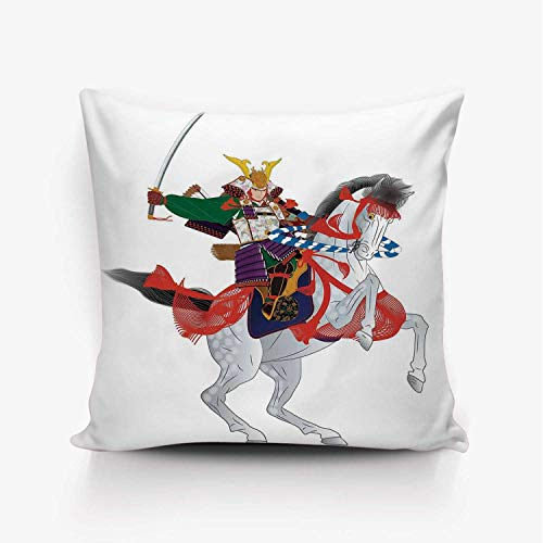 YOLIYANA Japanese Soft Throw Pillow Cover,an Asian Soldier with Local War Clothes Armour Riding a Prancing Horse Illustration for Home Office,20