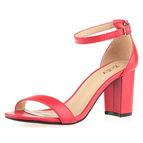 Detail Heel Block - ZriEy Women's Chunky Block Strappy High Heel Sandals Cross Strappy Ankle Strap Classic Open Toe Shoes Red