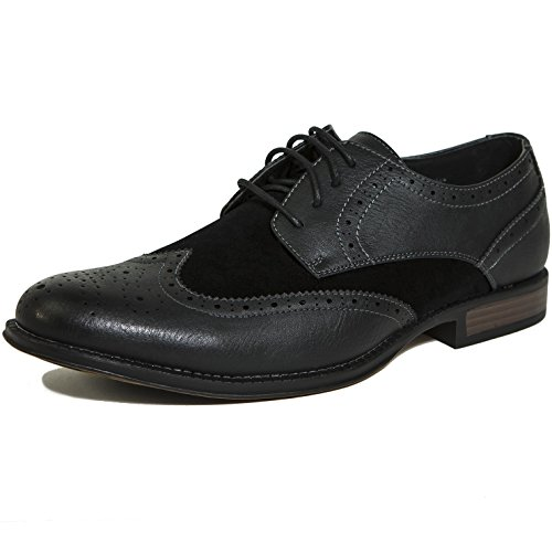 Two Tone Medallion - alpine swiss Zurich Mens Wing Tip Oxfords Two Tone Brogue Medallion Black 10 M US