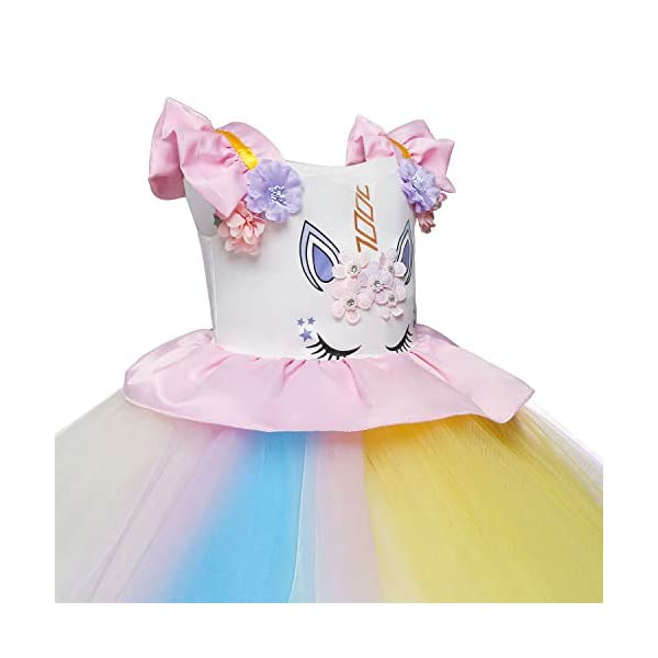 Cotrio Unicorn Costume Fancy Dress Up Flower Girls Dresses Pageant Party Evening Gowns Halloween Tutu Dress 5