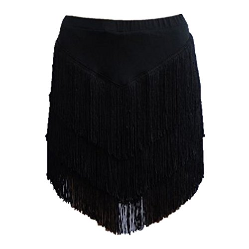 YOUMU Women Latin Skirt Tango Rumba Dancewear Ballroom Fringe Tassels with Shorts Inside (XL/Waist: 76 cm/29.9