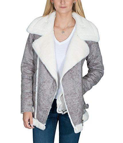 Mantel lammfelloptik grau