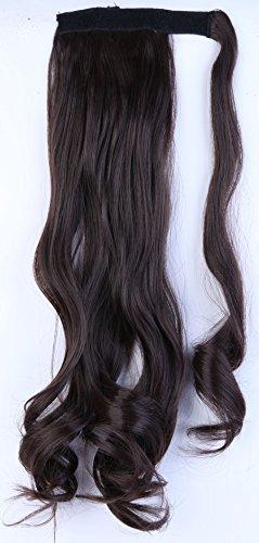 S-noilite® Haarteil Zopf Pferdeschwanz Gewellt Haarverlängerung 43cm natürlich Hair Piece div. Farben (43cm , Dunkelbraun)
