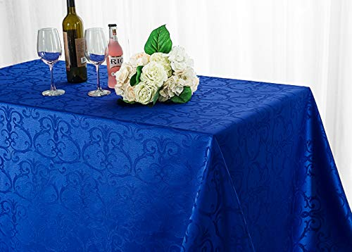 - Wedding Linens Inc. 90 Inch x 132 Inch Rectangular Versailles Chopin Jacquard Damask Polyester Tablecloths Table Cover Linens for Restaurant Kitchen Dining Wedding Party Banquet Events - Royal Blue