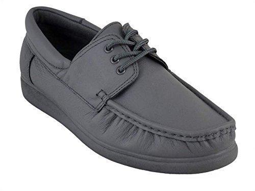 Crown King–Zapatos de piel con cordones Bolos sobre césped, color blanco y gris Gris - gris