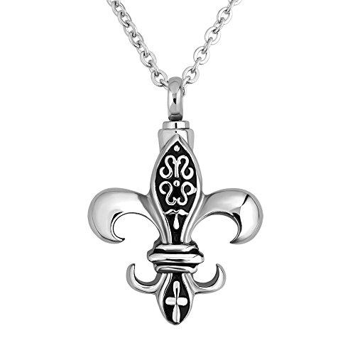 (Q&Locket Stainless Steel Fleur De Lis Urn Pendant Necklace For Ashes)