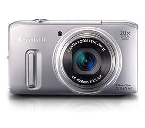 "Canon PowerShot SX240 HS - Cámara compacta de 12.1 Mp (pantalla de 3"", zoom óptico 20x, estabilizador de imagen ) color plateado"