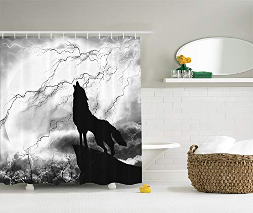 - Ambesonne Black Wolf Silhouette Howling Thunderstorm Full Moon Light Mystic Night Gray White and Black, Scary Scene Art Decorations Charcoal Bathroom Decor Polyester Fabric Shower Curtain, Monochrome