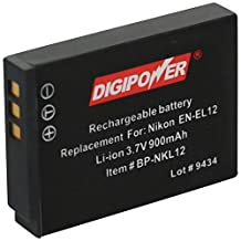 Digipower BP-NKL12 Replacement Li-Ion Battery for Nikon EN-EL12 for use with Coolpix S1000pj, S1100pj, S6000, S610, S620, S630, S640, S70, S710, S8000, and S8100 Digital Cameras