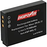 Digipower BP-NKL12 Replacement Li-Ion Battery for Nikon EN-EL12 for use with Coolpix S1000pj, S1100pj, S6000, S610, S620, S630, S640, S70, S710, S8000 and S8100 Digital Cameras