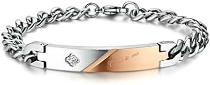 MoAndy Titanium Steel Men,Women's 2Pcs Bracelet Link Wrist Close to Me Valentine Friendship Bracelet