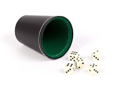 Bello Games New York, Inc. Green & Black Leatherette Dice Cup with 5 Dice