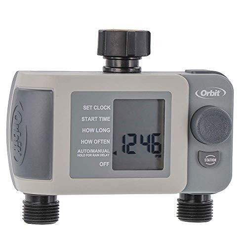 Orbit 24621 2-Outlet Hose Faucet Timer, Gray (Renewed)
