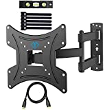 PERLESMITH Full Motion TV Wall Mount Bracket for 13-42 Inch TVs with Swivel & Extends 16 Inch - Wall Mount TV Bracket VESA 200x200 fits TVs up to 77lbs - with HDMI Cable, Bubble Level & Cable Ties