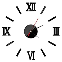 Clearance! Wall Stickers,Canserin Classic 3D DIY Mirror Time Clock Wall Stickers Living Modern Design Home Room Decoration (Black)
