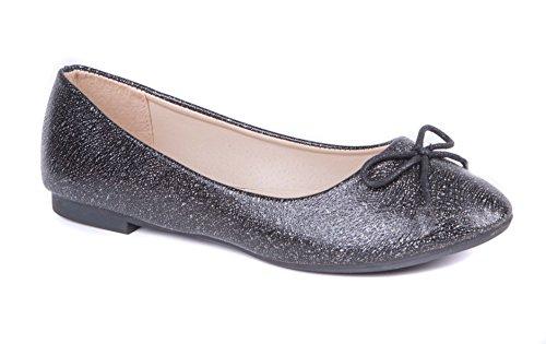 Womens Ballerina Pumps & Ballet Shoes Slip On Black Glitter