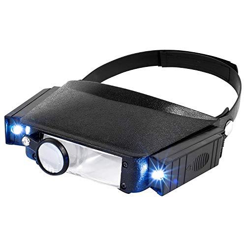 MIYAKO USA Jewelers Magnifying Headset Illuminated Multi-Power LED Flip in Head Magnifier Glass