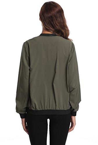 4c87e973e MISS MOLY Women's Zip Up Lightweight Coat Rib Collar Multi-Pockets Bomber  Jacket L Size