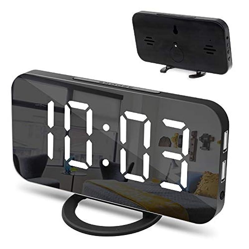 Amztolife LED자명종 디지탈 시계「3 단휘도 조절 밀러 기능 듀얼USB전원식 《스누즈》기능 12/24시간표시 휴대 충전 가능 USB포토 부착」탁상시계 벽시계 에너지 절약 탁상 대음량 크다(검정)(백자)
