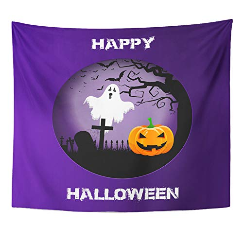 Emvency Tapestry Polyester Fabric Print Home Decor Bats Halloween Spooky Landscape in Cutout Blood Evil Wall Hanging Tapestry for Living Room Bedroom Dorm 50x60 Inches ()