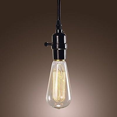 Efine Minimalist 1 Light Vintage Edison Hanging Socket Pendant Bulb Holder Ceiling Light Lamp Illuminated Switch 60-inch Black Wire