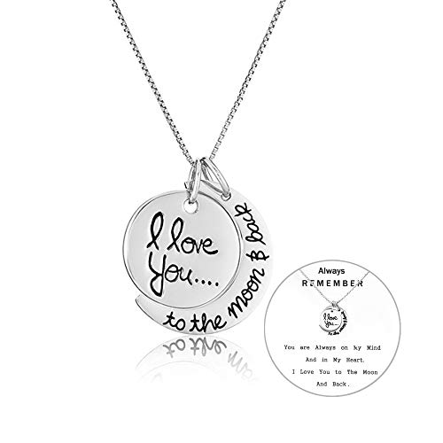 Exweup I Love You to The Moon and Back Necklace for Women Moon Charm Unique Necklace Love Necklace for Mom Wife Daughter Girlfriend