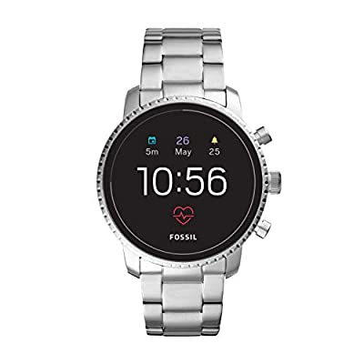 Fossil Men's Gen 4 Q Explorist HR Stainless Steel Touchscreen Smartwatch, Color: Silver (Model: FTW4011)