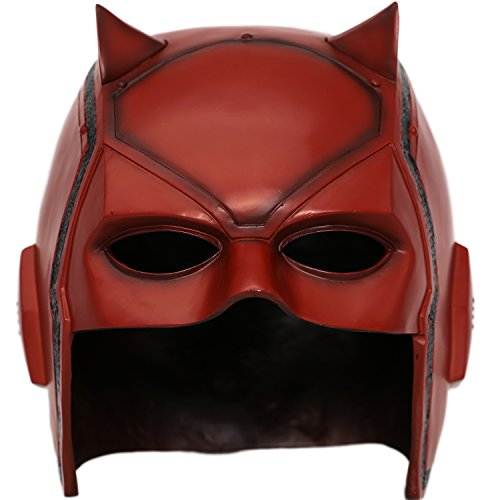 xcoser Dare Devil Mask Matt Murdock Cosplay Adult Updated Red PVC Halloween Helmet]()