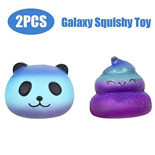 jiayit Toys r us Squishies Fidget Toys,2pcs Panda & Poo ,Cartoon Squishy Aroma Slow Rising Squeeze Toy Gift Fun (Galaxy blue, 101010cm/Poo:7cm7cm6cm)