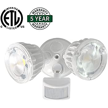 Hykolity 30W LED Security Light Infared Motion Activated Outdoor Floodlight [300W Equivalent] 3900lm 5000K Daylight White IP66 Waterproof Adjustable Dual Head ETL Listed