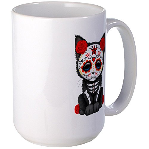 CafePress - Cute Red Day of the Dead Kitten Cat Mugs - Coffee Mug, Large 15 oz. White Coffee Cup (Sugar Skull Cat)