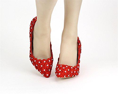 Miyoopark Ll163 Femmes Talon Cubain Demoiselle Dhonneur De Mariage Pompes De Soirée De Mariage Chaussures Rouge-7cm Talon