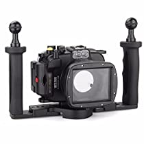 EACHSHOT 40m/130ft Underwater Diving Camera Housing for Sony DSC WX500 + Two Hands Aluminium Tray