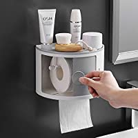 Waterproof Toilet Roll Holder with Phone Shelf-Wall Mounted Bathroom Tissue Paper Storage Organizer (1 Toliet Holder)