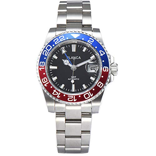 40mm PLANCA Black dial Pepsi Bezel Sapphire Crystal Date GMT Automatic Men Watch (Date Gmt Watch)