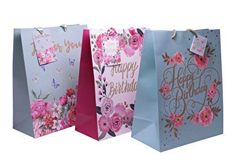 587fe0f9b3c Floral Themed Birthday Party Favor Gift Bags - Happy Birthday with Flowers  - Floral Party Supplies & Treats Paper Bags - Pack of 12 Comes in 3 ...