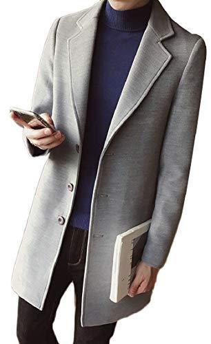 Pea Plain Blend Gocgt Coat Men's Premium Single Grey Wool Light Breasted Solid wCpTq8pS