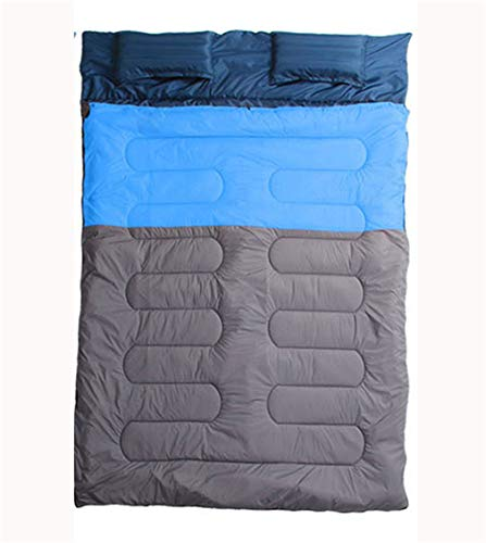 TAFUFALI Couples Double Sleeping Bags Outdoor Camping Hiking Sleeping Bag Lunch Breaking Portable Sleeping Bag Pillow Blue ()