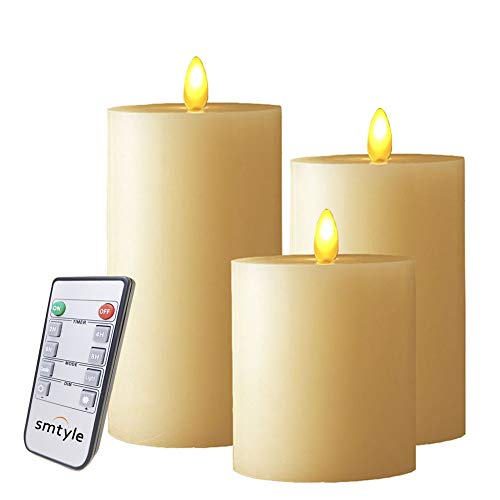 smtyle Flickering Moving Flame Wick Flameless Candles set of 3 piece with Timer Remote and Battery...