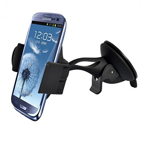 Premium Compact Car Mount Windshield Glass Holder Dock for HTC DEsire 510 610 612 626 626S EYE - LG Optimus F6, F7, F60, F3Q, Tribute 2, G Flex 2, K7 - Blackberry Priv, Z10, Z30, Q10